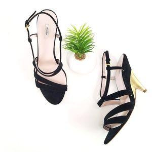 MIU MIU Dress Sandals Black Suede Gold Heels Shoes